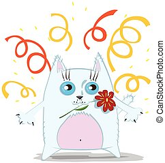 chat, dessin animé, fleur
