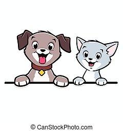 chat, dessin animé, frontière, chien, cadre, animal