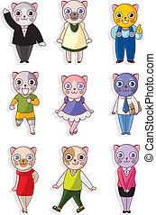 chat, dessin animé, icône