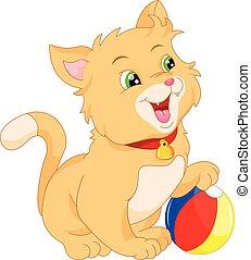 chat, dessin animé, mignon