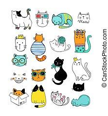 chat, doodles, collection, de, vecteur, illustrations