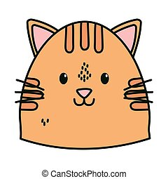chat, figure, dessin animé, mignon, icône