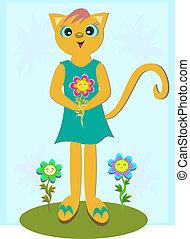 chat, fleurs, heureux