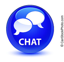 Chat glassy blue round button