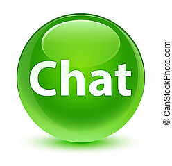 Chat glassy green round button