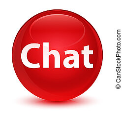 Chat glassy red round button