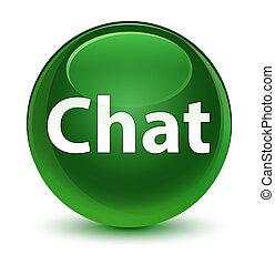 Chat glassy soft green round button