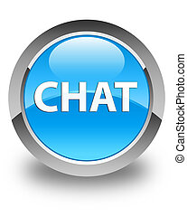 Chat glossy cyan blue round button