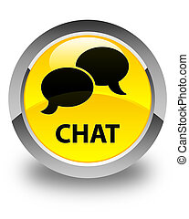 Chat glossy yellow round button