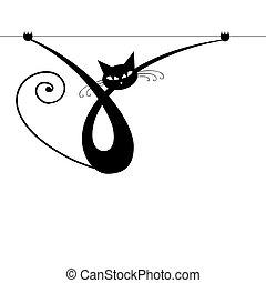 chat, gracieux, noir, ton, conception, silhouette