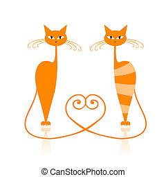chat, gracieux, orange, ton, rayé, conception