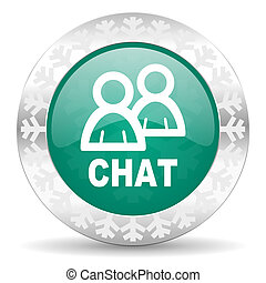 chat green icon, christmas button