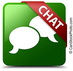 Chat green square button red ribbon in corner