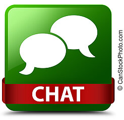 Chat green square button red ribbon in middle