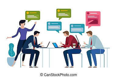 Chat group speech bubble. business people working in office talk to each other. Vector illustration