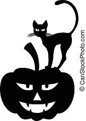 chat, halloween, citrouille