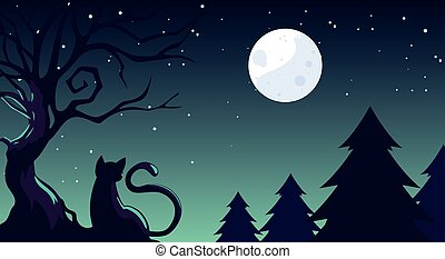chat, halloween, fond foncé, champ