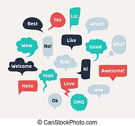 Chat hand drawn speech bubbles. Thinking balloon with rough edges and noisy grunge texture. Vector isolated chatting comments set