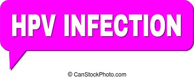 Chat HPV INFECTION Colored Bubble Message. HPV INFECTION label is located inside colored speech balloon with shadow. Vector quote label inside message frame.