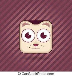 chat, icône, app