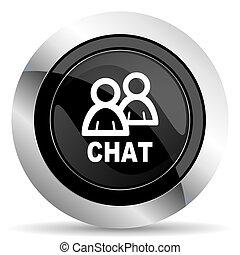 chat icon, black chrome button