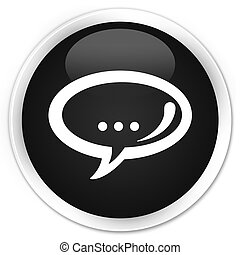 Chat icon black glossy round button