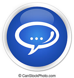 Chat icon blue glossy round button