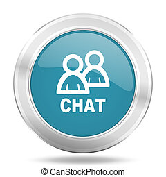 chat icon, blue round glossy metallic button, web and mobile app design illustration