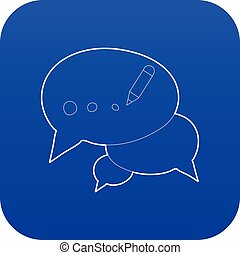 Chat icon blue vector