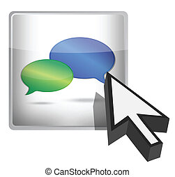 Chat icon button and cursor
