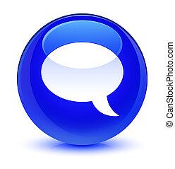 Chat icon glassy blue round button
