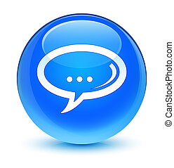 Chat icon glassy cyan blue round button