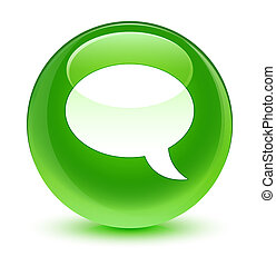 Chat icon glassy green round button