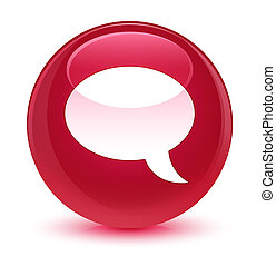 Chat icon glassy pink round button