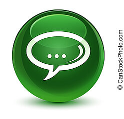 Chat icon glassy soft green round button
