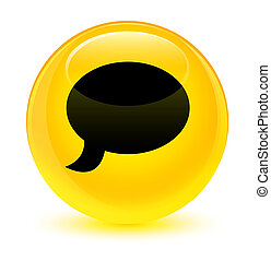 Chat icon glassy yellow round button