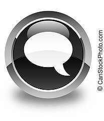 Chat icon glossy black round button