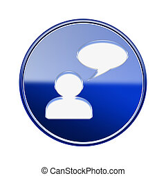 Chat icon glossy blue, isolated on white background