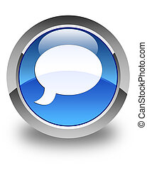 Chat icon glossy blue round button 3