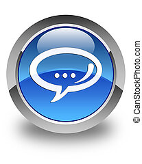 Chat icon glossy blue round button
