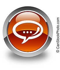 Chat icon glossy brown round button