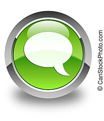 Chat icon glossy green round button 2