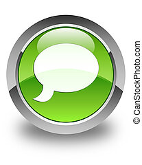 Chat icon glossy green round button 3