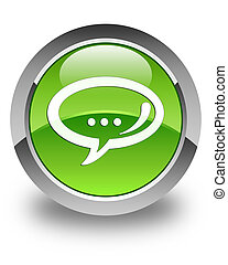 Chat icon glossy green round button