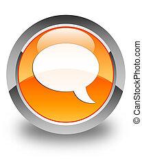 Chat icon glossy orange round button 2
