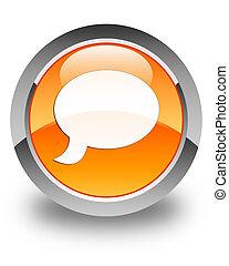 Chat icon glossy orange round button 3