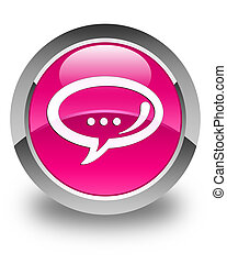 Chat icon glossy pink round button