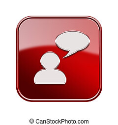 Chat icon glossy red, isolated on white background