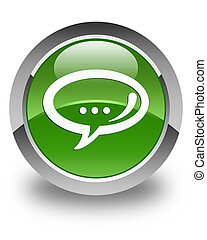 Chat icon glossy soft green round button