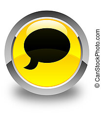 Chat icon glossy yellow round button